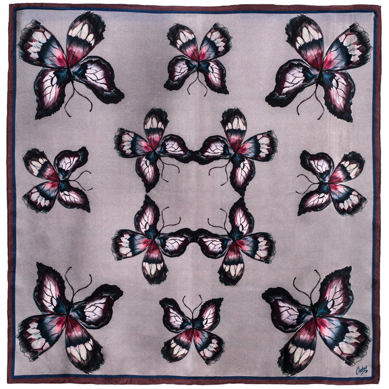 Chetna Singh grey butterfly print silk pocket square.