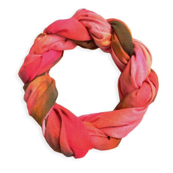 Chetna Singh pink and red tie-dye print cotton scarf.