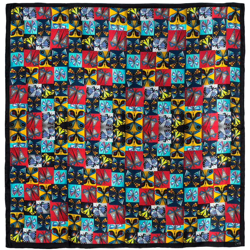 Chetna Singh multi-color butterfly print square silk scarf.