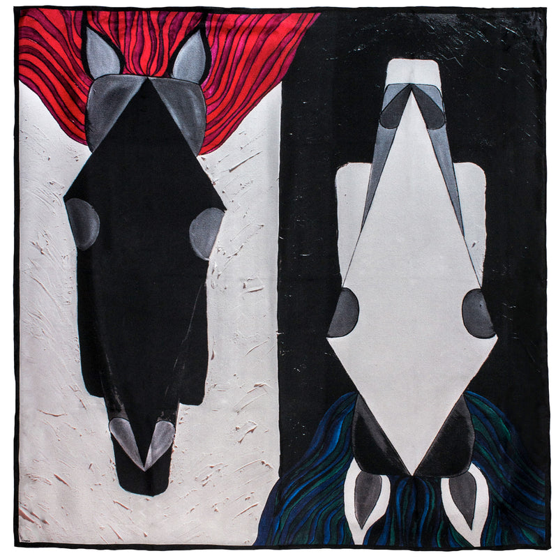 Chetna Singh black and white horse print silk scarf.