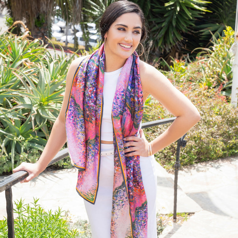 Chetna Singh Silk scarf monet flowers lily