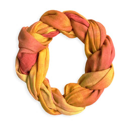 Chetna Singh orange tie-dye print cotton scarf.