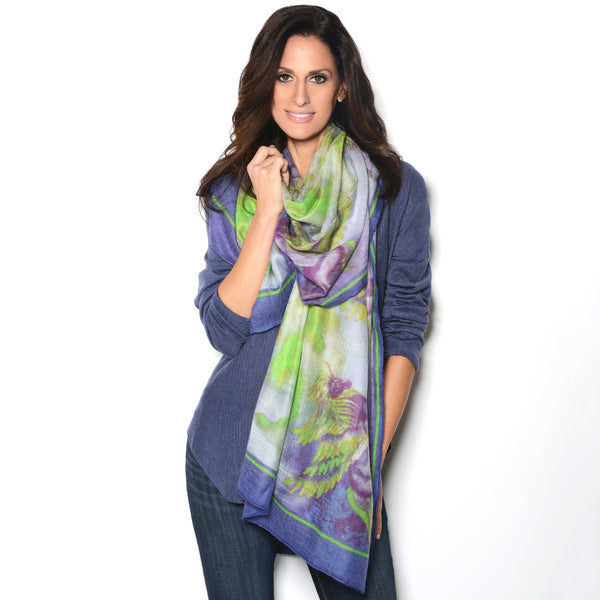 Model wearing Chetna Singh purple and green printed Phoenix cashmere scarf.