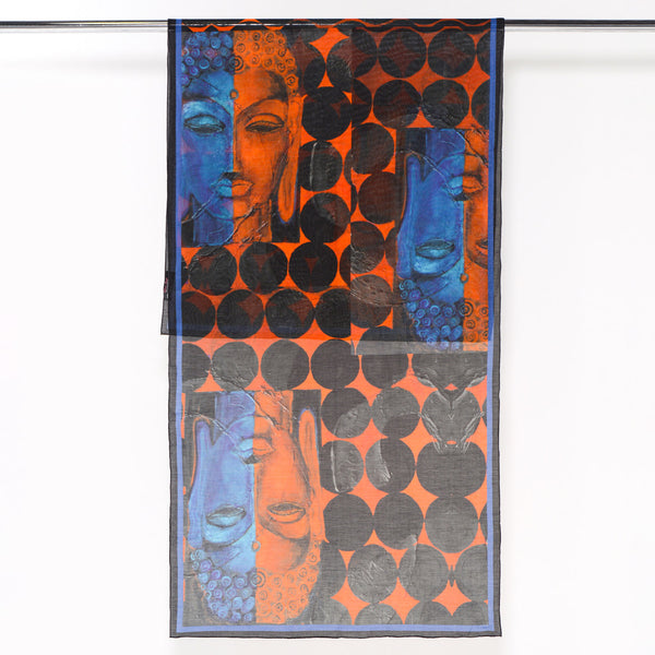 India Buddha - Long Silk Cotton Scarf
