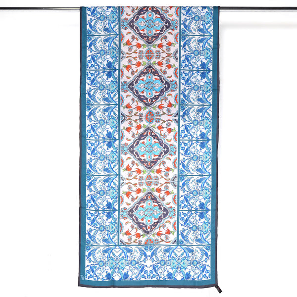 Istanbul Tiles - Long Silk Cotton Scarf
