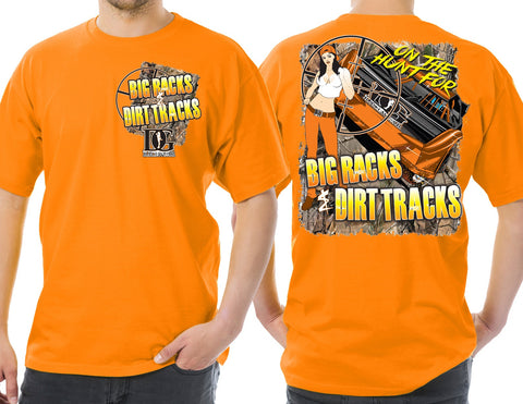 "Dirt Late Model Racing - ""Big Racks & Dirt Tracks"" Men's T-Shirt Tan or Safety Orange"