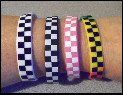 Checkered Flag Silicone Racing Bracelets