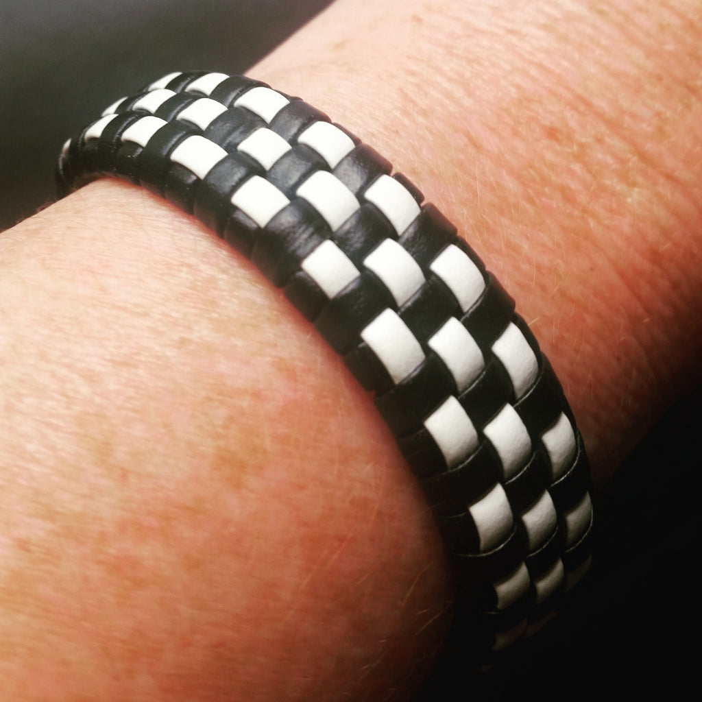 Black & White Checkered Leather Bracelet