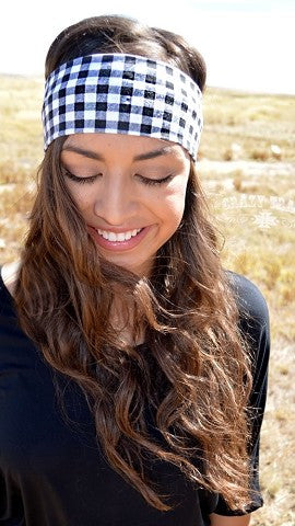 Checkered Headband - Black/White