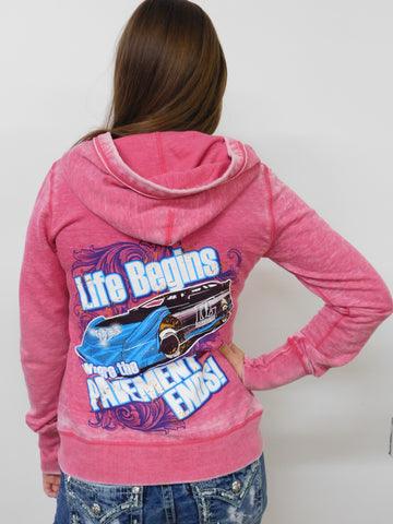 Life Begins Where the Pavement Ends - Dirt Late Model Racing Hoodie