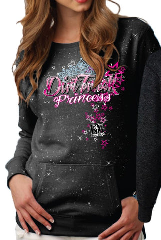Dirt Track Princess Glitter Crew Neck