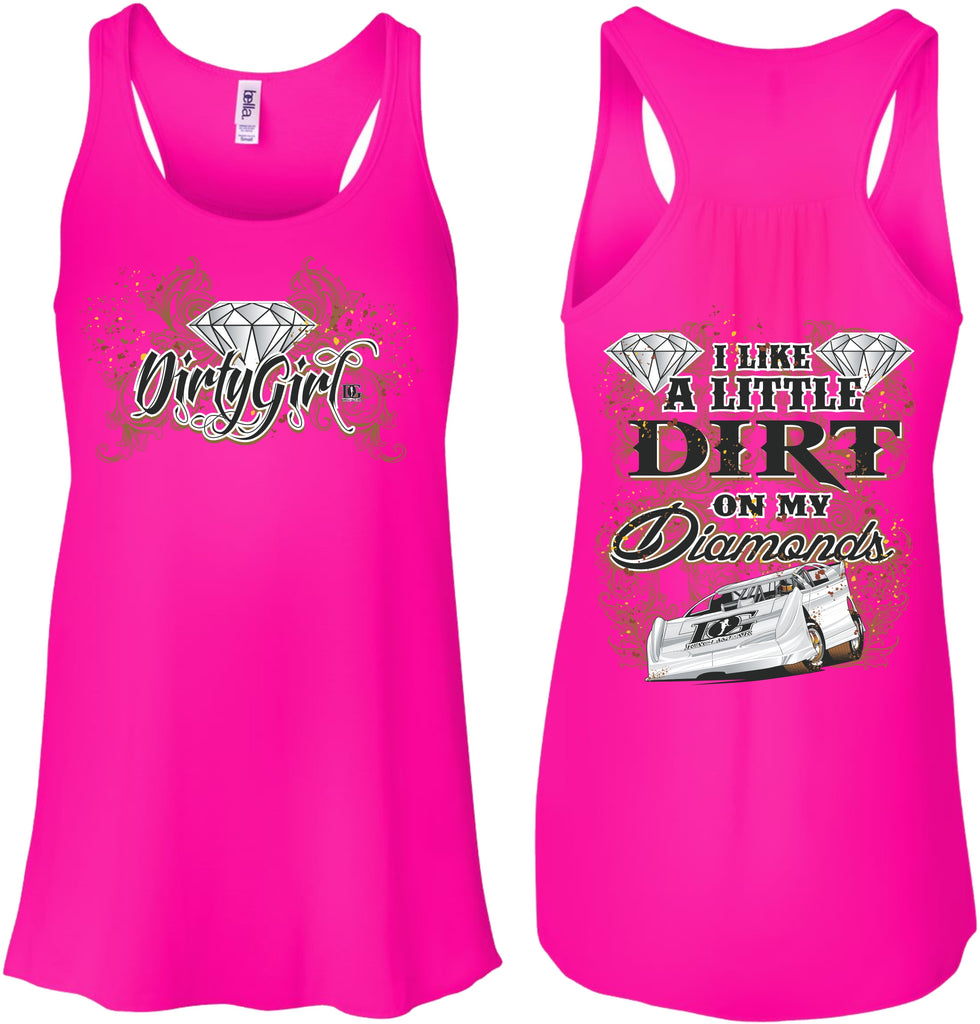 Dirt on My Diamonds Dirt Late Model Racing Flowy Tank Top