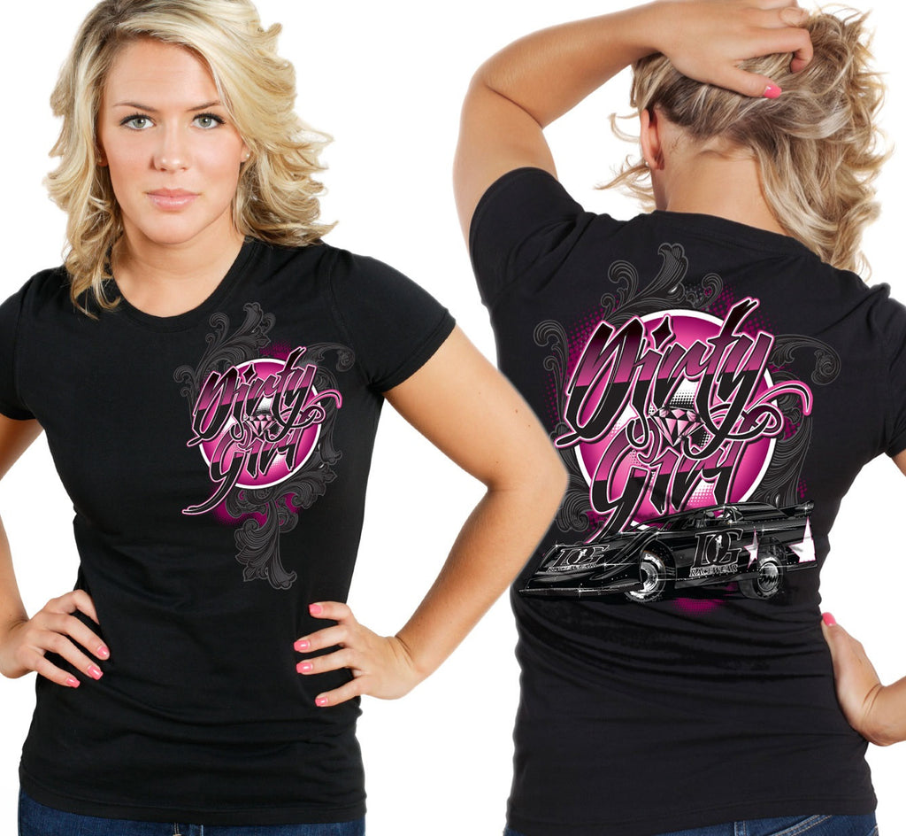 "Dirt Late Model ""Dirty Girl"" T-Shirt Pink or Green Accent"