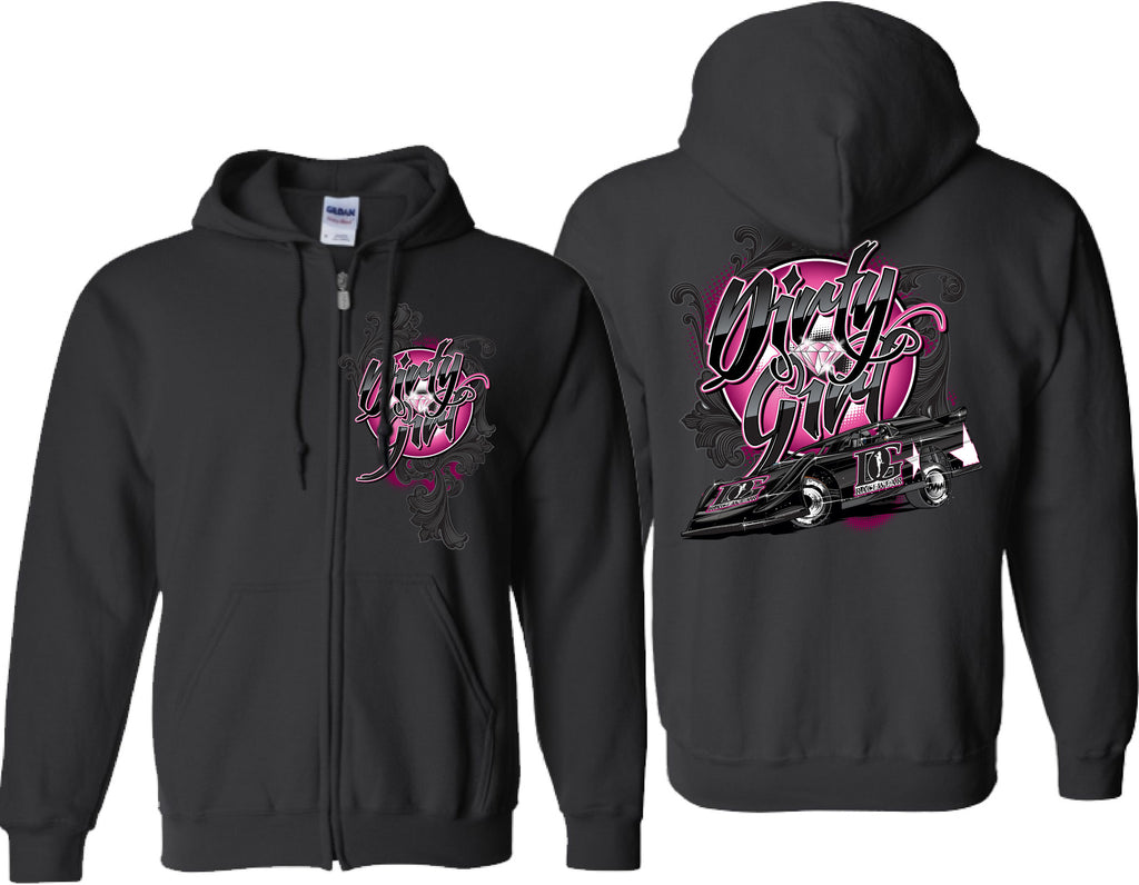 "Dirt Late Model - ""Dirty Girl"" Zip Up Hoodie"