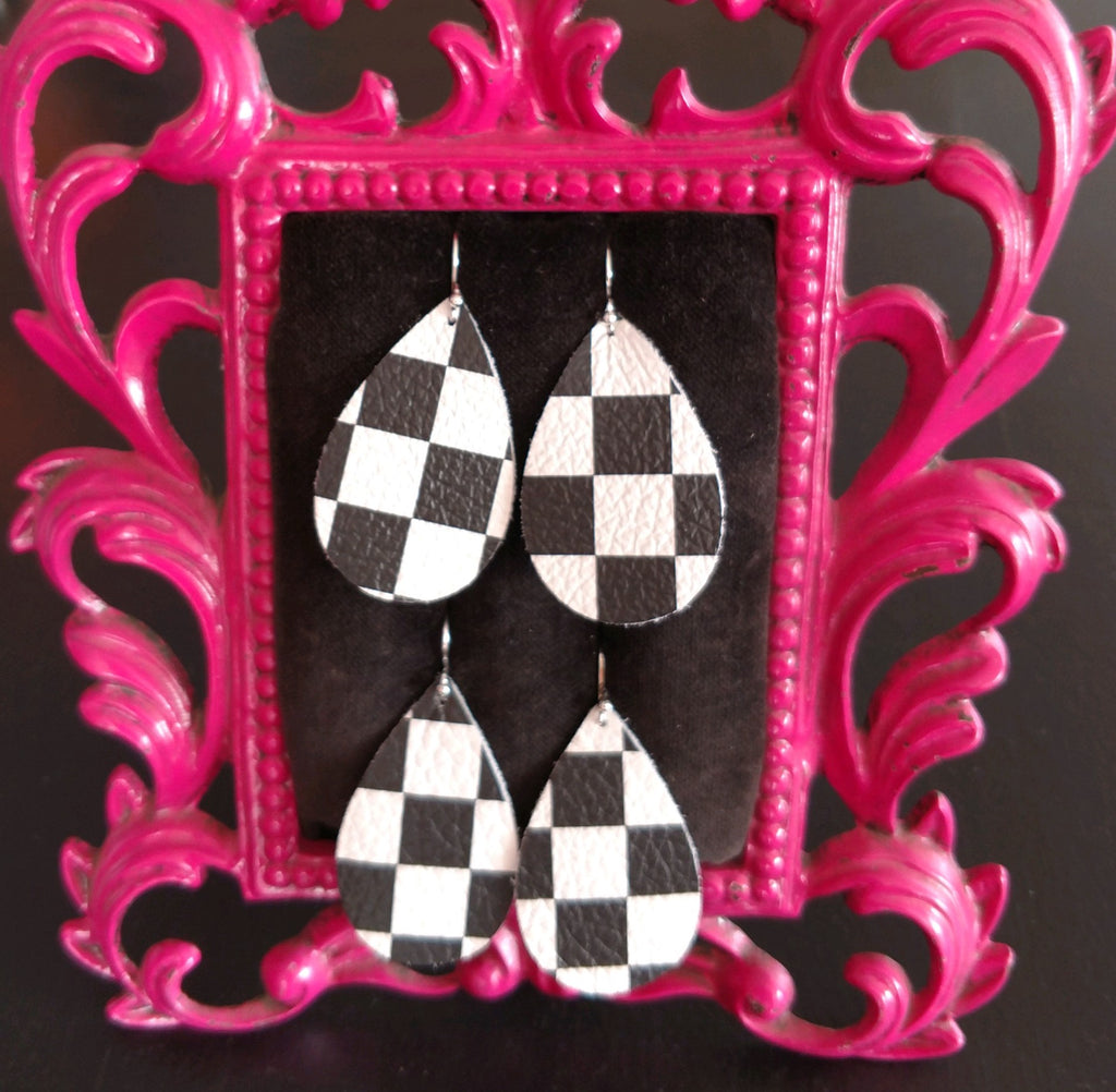 Leather Checkered Earrings