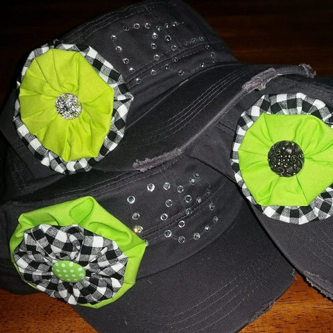 Charcoal & Checkered Cadet Style Hats w/ Bling