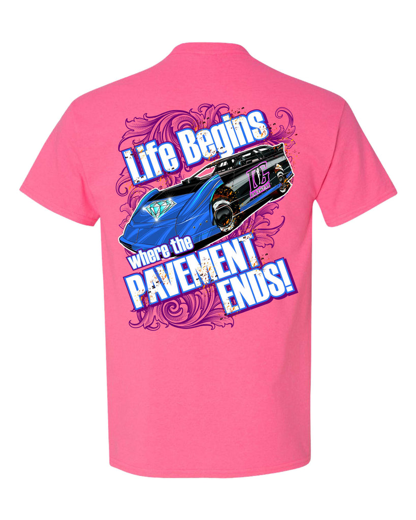 Where the Pavement Ends - Dirt Late Model Racing T-Shirt