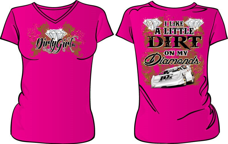 Dirt on My Diamonds Dirt Late Model Racing V-Neck T-Shirt 2 Color Choices