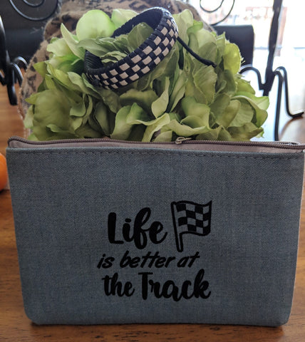 Zipper Pouch - Life is Better at the Track & Black/White