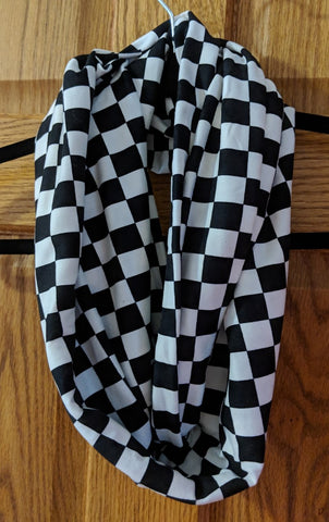 Infinity Scarf - Black & White Checkered Racing Scarf