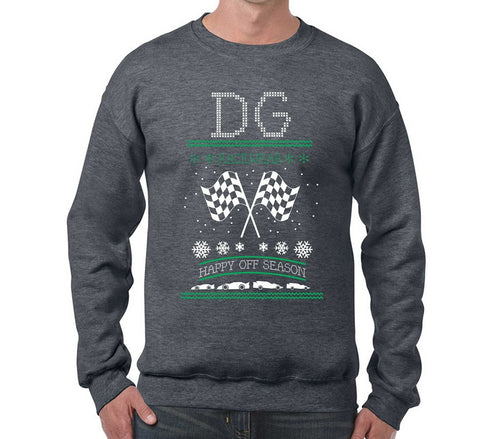 "Race Car ""Ugly Sweater"" Cross Stitch Look Crew Neck"