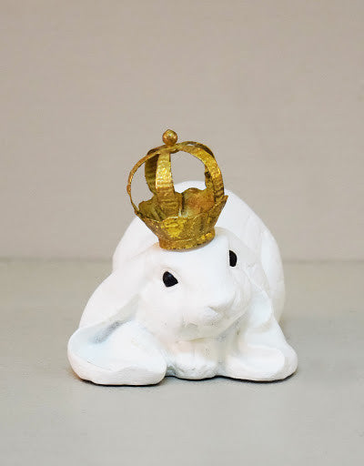 Lying Hare With Crown, White