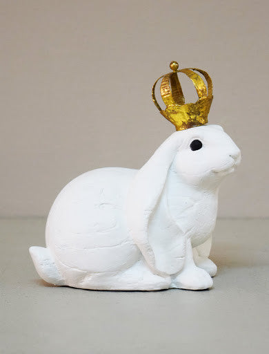 Sitting Hare With Crown, White
