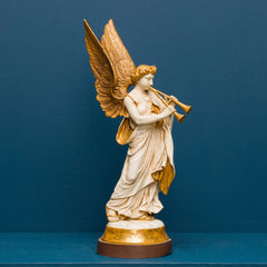 REREDOS ANGEL W/ AULOS, WHITE AND GOLD