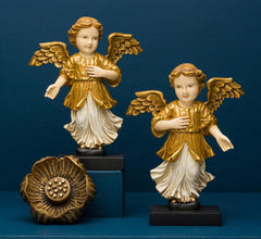 HELENA ANGELS ON BASE GOLD AND WHITE SET OF 2