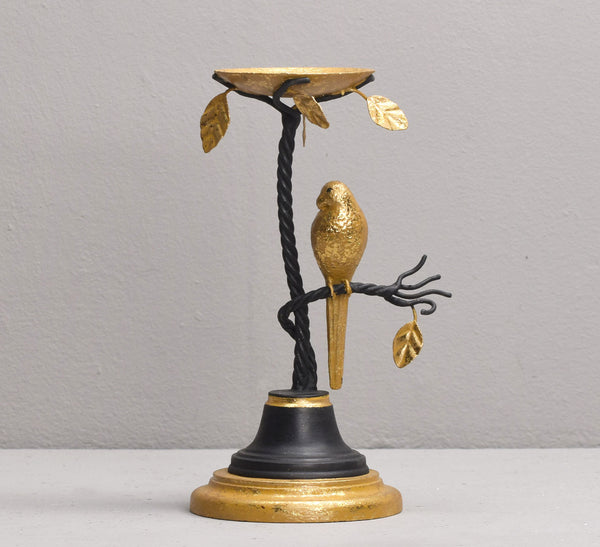 MACAW TEA LIGHT HOLDER, BLACK & GOLD