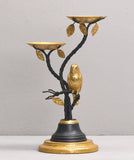 BUDGERIGAR TEA LIGHT HOLDER, BLACK & GOLD
