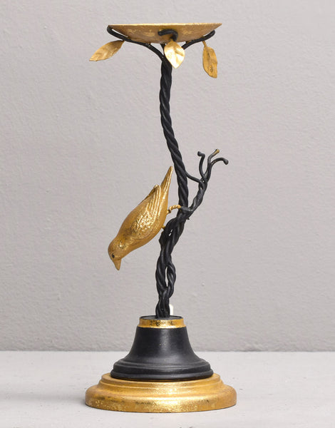 NUTHATCH TEA LIGHT HOLDER, BLACK & GOLD