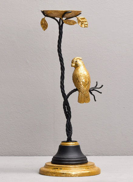 COCKATOO TEA LIGHT HOLDER, BLACK & GOLD