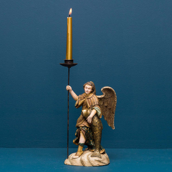 ANGEL RAPHAEL WITH FISH CANDLE HOLDER
