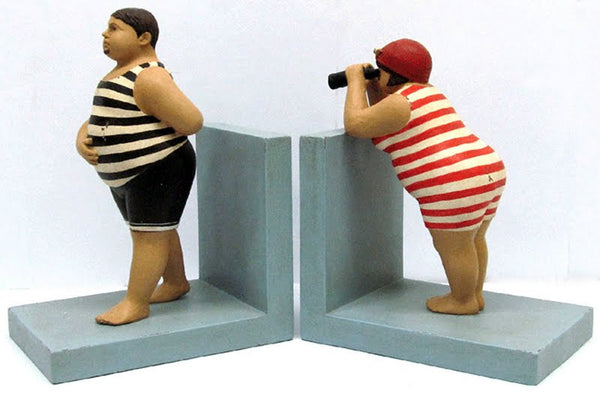 FAT MAN & FAT LADY WITH BINOCULARS BOOKENDS