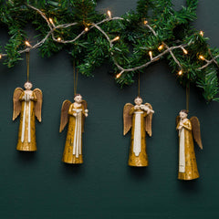 ROSELLIE ANGEL ORNAMENT S/4, GOLD