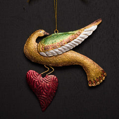 CHRISTMAS DOVE WITH HEART ORNAMENT