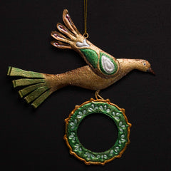 CHRISTMAS DOVE WITH WREATH ORNAMENT