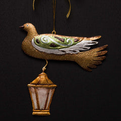CHRISTMAS DOVE WITH LANTERN ORNAMENT