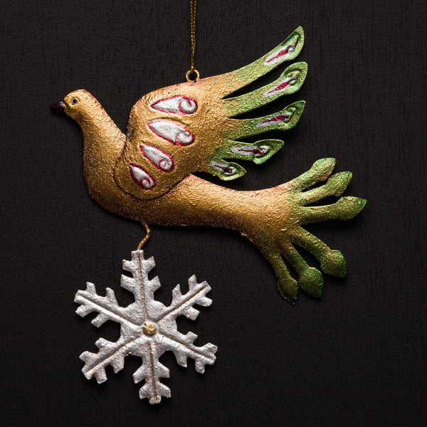 CHRISTMAS DOVE WITH SNOWFLAKE ORNAMENT
