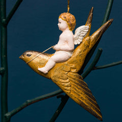 CHERUB ON SWIFT ORN. GOLD