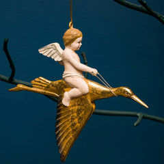 CHERUB ON STORK ORN., GOLD