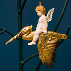 CHERUB ON PELICAN ORN. GOLD