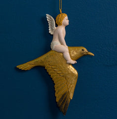 CHERUB ON SEAGUL ORN. GOLD