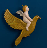 CHERUB ON DOVE ORN. GOLD