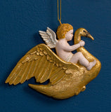 CHERUB ON SWAN ORN. GOLD