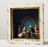 MINI NATIVITY IN ANTQ. WHT. FRAME
