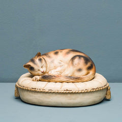 CAT ON OVAL CUSHION BOX