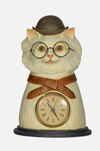 CLYDE CAT TABLE TOP CLOCK