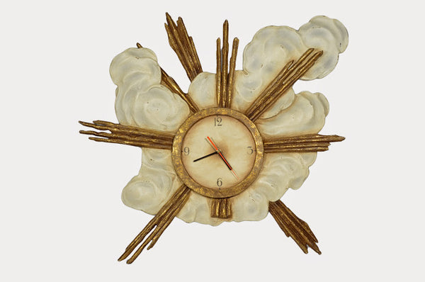 SUNBURST WITH CLOUD WALL CLOCK